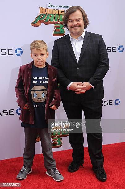 Actor Jack Black and son Samuel Jason Black arrive at the premiere of 20th Century Fox's 'Kung Fu Panda 3' at TCL Chinese Theatre on January 16 2016...