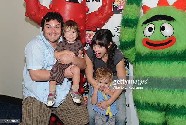 Actor Jack Black and sons Thomas and Samel Black and wife musician attend Tanya Haden Yo Gabba Gabba Live There's A Party In My City at Nokia LA Live...