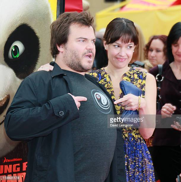 Actor Jack Black and wife singer Tanya Haden attend the premiere of DreamWorks Animation's Kung Fu Panda 2 at Mann's Chinese Theatre on May 22 2011...