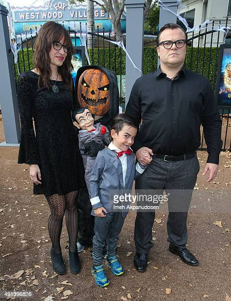 Actor Jack Black and wife Tanya Haden and son Thomas Black attend the premiere of Sony Pictures Entertainment's 'Goosebumps' at Regency Village...