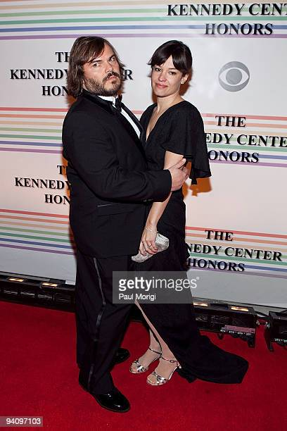 Actor Jack Black and wife Tanya Haden arrive at the 32nd Kennedy Center Honors at Kennedy Center Hall of States on December 6 2009 in Washington DC