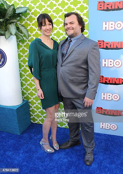 Actor Jack Black and wife Tanya Haden arrive at the Premiere of HBO's 'The Brink' at the Paramount Theater at Paramount Studios on June 8 2015 in...