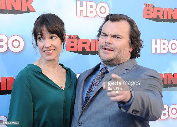 Actor Jack Black and wife Tanya Haden arrive at the Premiere of HBO's 'The Brink at the Paramount Theater at Paramount Studios on June 8 2015 in...