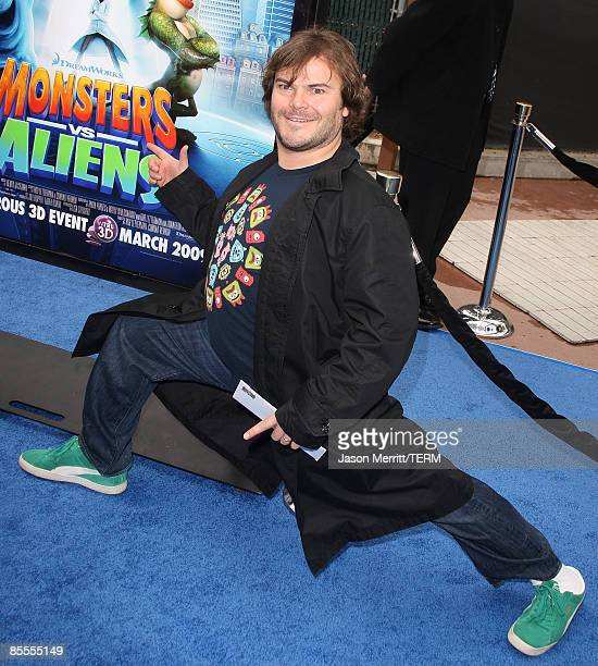Actor Jack Black arrives at the premiere of Dreamworks' 'Monsters Vs Aliens' held at the Gibson Amphitheatre on March 22 2009 in Universal City...