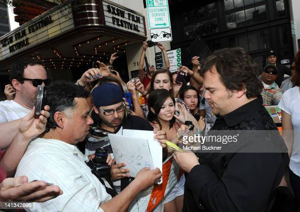 Actor Jack Black arrives at the World Premiere of Bernie during the 2012 SXSW Music Film Interactive Festival at Paramount Theatre on March 13 2012...