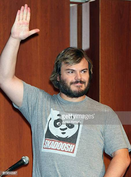 Actor Jack Black attends a press conference promoting Kung Fu Panda at Park Hyatt Tokyo on July 15 2008 in Tokyo Japan The film will open on July 26...