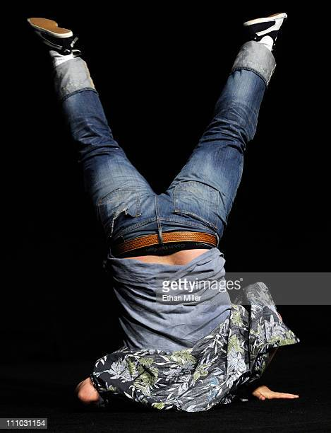 Actor Jack Black does a flip as he promotes his upcoming film Kung Fu Panda 2 at The Colosseum at Caesars Palace during the opening night of...