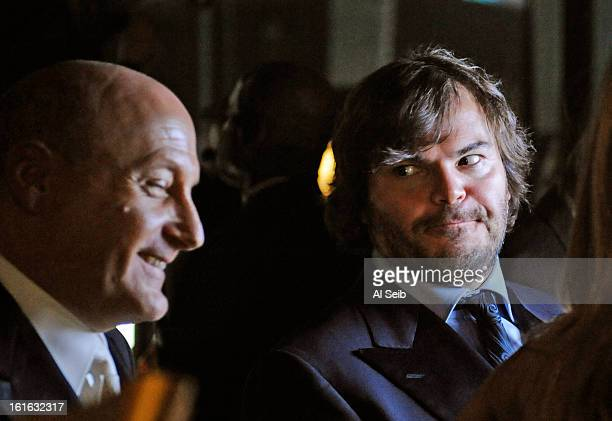 Actor Jack Black is photographed backstage at the 81st Academy Awards with one of the stage direcors for Los Angeles Times on February 22 2009 at the...