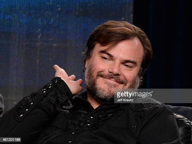 "Actor Jack Black listens onstage to a question from the media audience during ""The Brink"" panel as part of the 2015 HBO Winter Television Critics..."