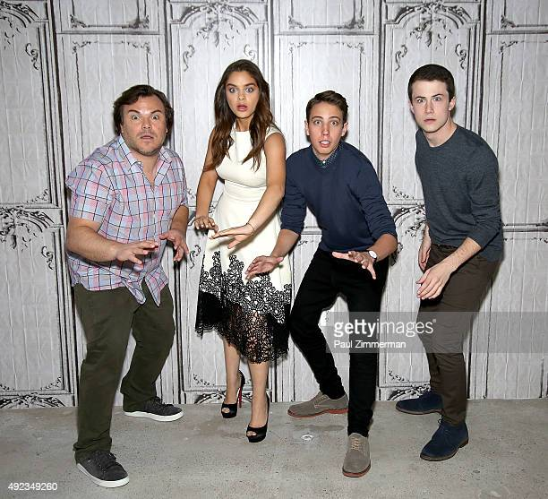 Actor Jack Black Odeya Rush Dylan Minnette and Ryan Lee attend AOL Build Series Presents 'Goosebumps' at AOL Studios In New York on October 12 2015...