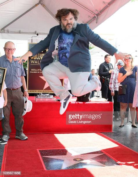 Actor Jack Black poses on his Hollywood Walk of Fame Star during a ceremony on September 18 2018 in Hollywood California