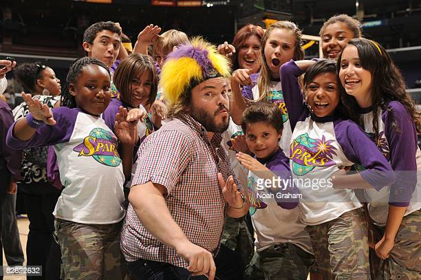 Actor Jack Black poses with the Los Angeles SparKids following the game against the Minnesota Lynx at Staples Center on September 1 2008 in Los...