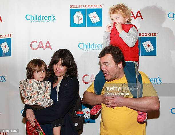 Actor Jack Black son Samuel Black and wife Tanya Haden holding son Thomas Black attend the 2nd Annual Milk Bookies Story Time Celebration at the...