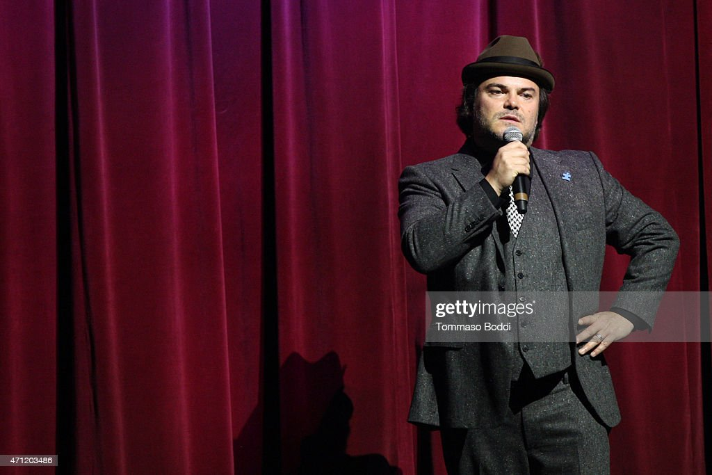 Actor Jack Black speaks on stage during the 3rd Light Up the Blues Concert to benefit Autism Speaks held at the Pantages Theatre on April 25, 2015 in Hollywood, California.