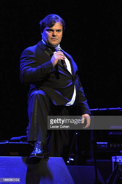 Actor Jack Black speaks onstage at Light Up The Blues Concert An Evening of Music To Benefit Autism Speaks at Club Nokia on April 13 2013 in Los...