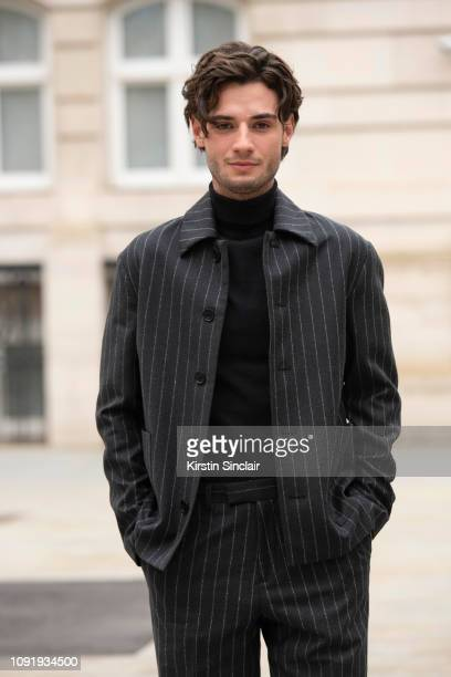 Actor Jack Brett Anderson wears all Charlie Casely Hayford for Topman during London Fashion Week Men's January 2019 on January 07 2019 in London...