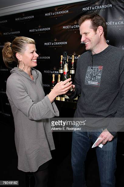 Actor Jack Coleman and wife Beth Toussaint attend the Moet Chandon suite at The Luxury Lounge in honor of the 2008 SAG Awards held at the Four...