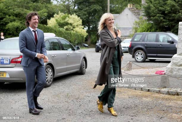 Actor Jack Donnelly arrives with partner Malin Akerman at Rayne Church Kirkton of Rayne in Aberdeenshire for the wedding ceremony of Game Of Thrones...