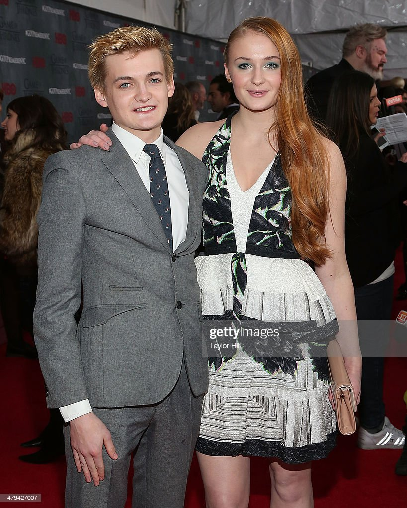 Actor Jack Gleeson and actress Sophie Turner attend the ...