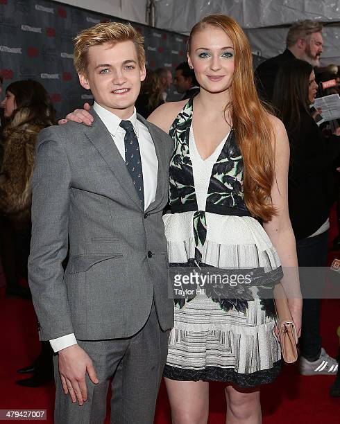 Actor Jack Gleeson and actress Sophie Turner attend the Game Of Thrones Season 4 premiere at Avery Fisher Hall Lincoln Center on March 18 2014 in New...