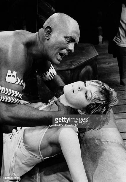Actor Jack Good as Othello strangling his wife Desdemona played by actress Sharon Gurney 1970