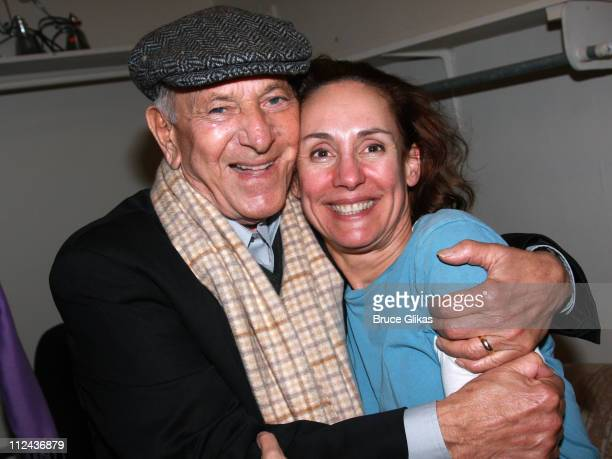 Actor Jack Klugman and Actress Laurie Metcalf pose backstage at The David Mamet Comedy 'November' at The Barrymore Theater on Broadway on March 11...
