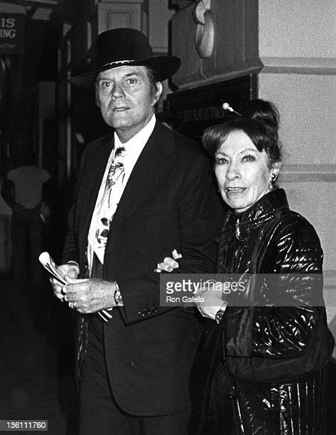 Actor Jack Lord and wife Gloria Berlin attend the premiere of 'Morning At 7' on October 11 1980 at the Lyceum Theater in New York City