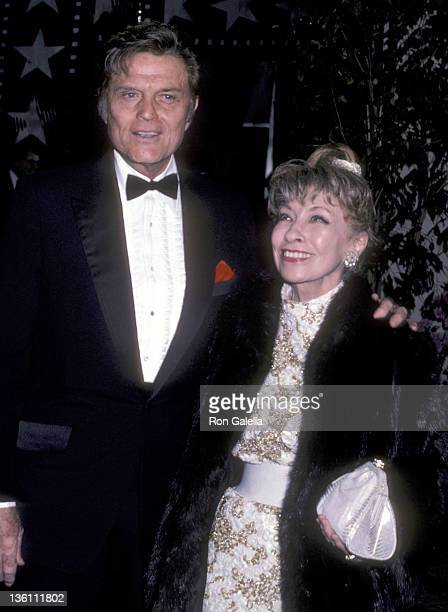 Actor Jack Lord and wife Marie Denarde attend the 13th Annual American Film Institute Lifetime Achievement Award Salute to Gene Kelly on March 7 1985...