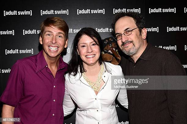 Actor Jack McBrayer Cartoon Network Adult Swim and Boomerang President and General Manager Christina Miller and actor Robert Smigel attend the 2015...