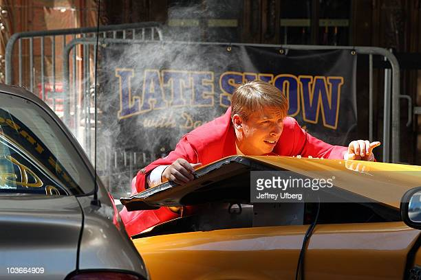 Actor Jack McBrayer on location for 30 Rock on the streets of Manhattan on August 27 2010 in New York City