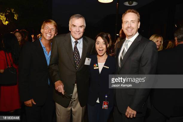 Actor Jack McBrayer television host Peter Marshall actress Aubrey Plaza and Chairman NBC Entertainment Robert Greenblatt attend NBC's 80th Page...