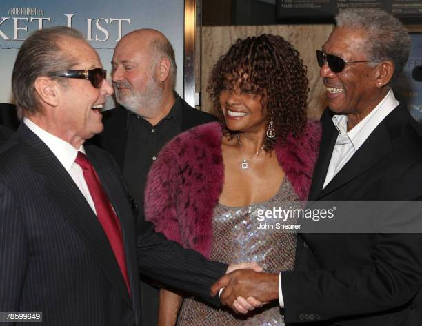 Actor Jack Nicholson actress Beverly Todd and actor Morgan Freeman attend The Bucket List premiere at the Cinerama Dome on December 16 2007 in...