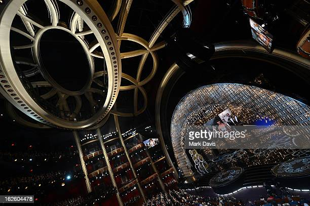 Actor Jack Nicholson along with First lady Michelle Obama seen on the video board present the Best Picture award onstage during the Oscars held at...