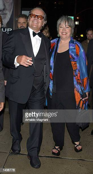 Actor Jack Nicholson and actress Kathy Bates arrive at the screening of About Schmidt in the Lincoln Center during the New York Film Festival...
