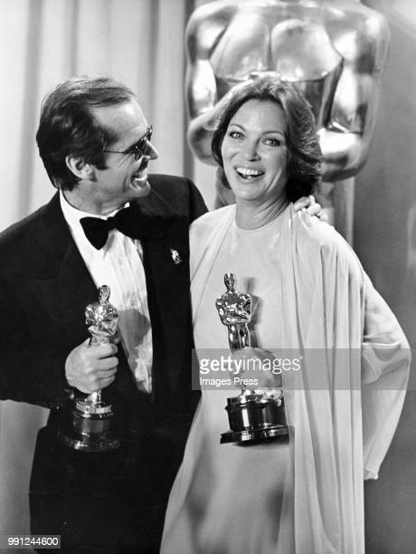 Actor Jack Nicholson and actress Louise Fletcher speak to the press during the 48th Academy Awards at Dorothy Chandler Pavilion in Los...