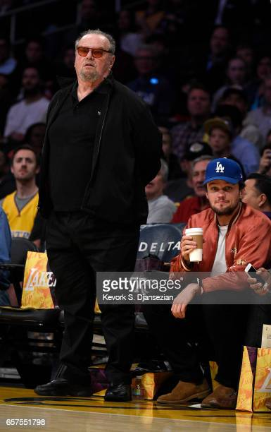 Actor Jack Nicholson and his son Ray attend Minnesota Timberwolves and Los Angeles Lakers basketball game at Staples Center March 24 2017 in Los...