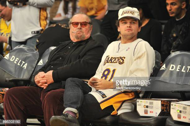 Actor Jack Nicholson and Ray Nicholson attend a basketball game between the Los Angeles Lakers and the Golden State Warriors at Staples Center on...