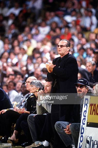 Actor Jack Nicholson attends a Los Angeles Lakers basketball game during the 1988-89 season at the Great Western Forum in Inglewood, CA.