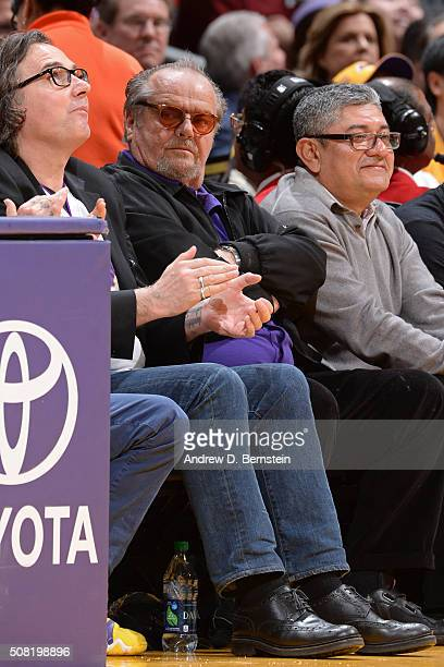 Actor Jack Nicholson attends the Minnesota Timberwolves game against the Los Angeles Lakers on February 2 2016 at STAPLES Center in Los Angeles...