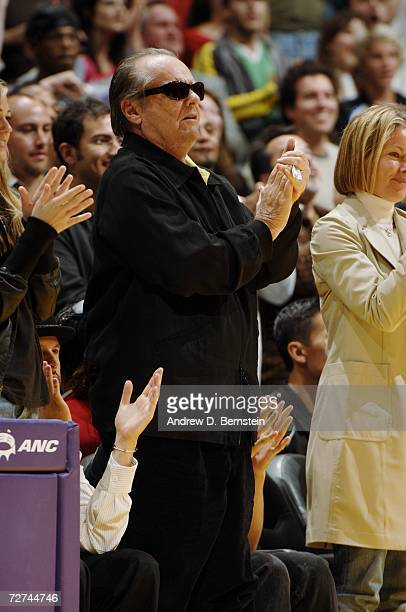 Actor Jack Nicholson cheers courtside at the game between the Los Angeles Lakers and the Toronto Raptors on November 17 2006 at Staples Center in Los...