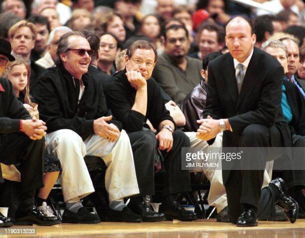 Actor Jack Nicholson directs his smile toward Portland Trail Blazers head coach Mike Dunleavy during the Blazers' match against the Los Angeles...