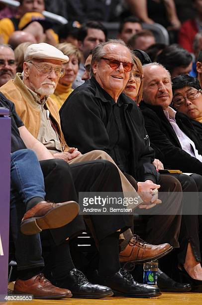 Actor Jack Nicholson looks on during a game between the Cleveland Cavaliers and the Los Angeles Lakers at Staples Center on January 14 2014 in Los...