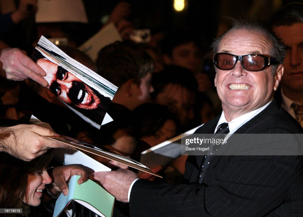 Actor Jack Nicholson meets fans at the UK premiere of 'The Bucket List' at the Vue cinema, Leicester Square on January 23, 2008 in London, England.