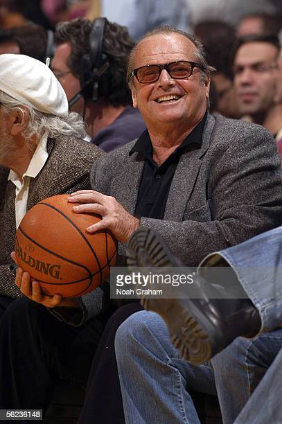 Actor Jack Nicholson sits courtside as the Los Angeles Lakers play against the Los Angeles Clippers on November 18 2005 at Staples Center in Los...