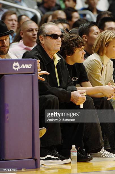 Actor Jack Nicholson sits courtside during the game between the Los Angeles Lakers and the Toronto Raptors on November 17 2006 at Staples Center in...