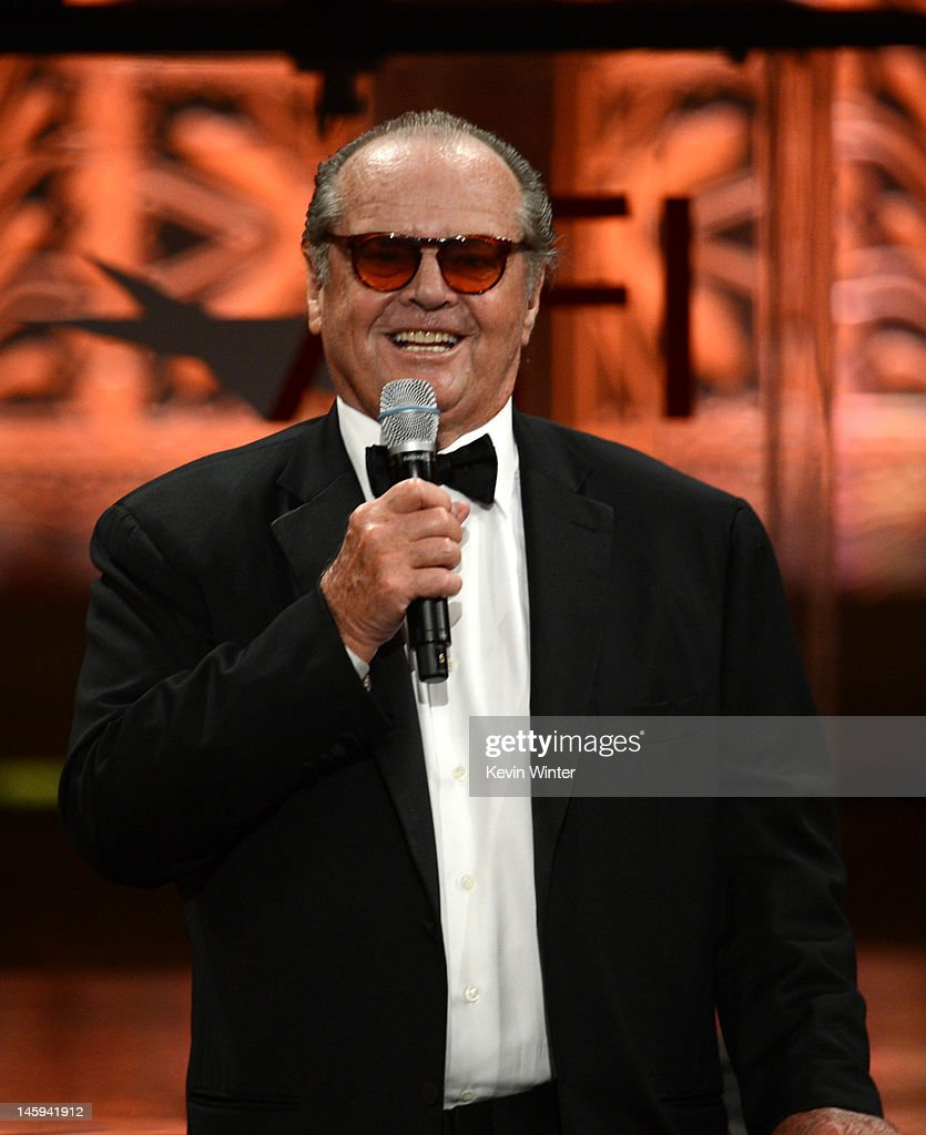Actor Jack Nicholson speaks onstage at the 40th AFI Life Achievement Award honoring Shirley MacLaine held at Sony Pictures Studios on June 7, 2012 in Culver City, California. The AFI Life Achievement Award tribute to Shirley MacLaine will premiere on TV Land on Saturday, June 24 at 9PM