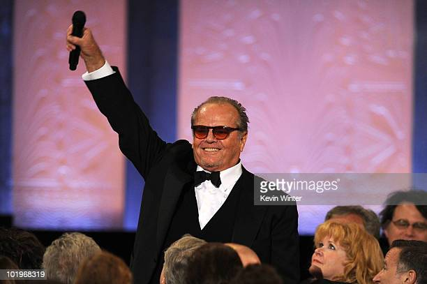 Actor Jack Nicholson speaks onstage during the 38th AFI Life Achievement Award honoring Mike Nichols held at Sony Pictures Studios on June 10 2010 in...