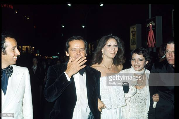 Actor Jack Nicholson stands with Anjelica Huston at the Cannes Film Festival May 1974 in Cannes France Nicholson won the festival's Best Actor award...