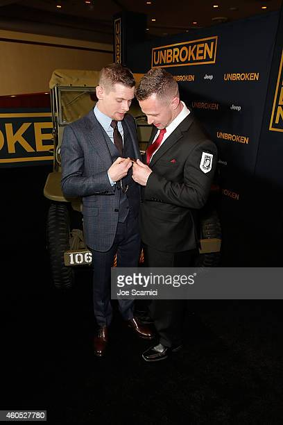 Actor Jack O'Connell and Actor Ryan Ahern attend the Unbroken Los Angeles Premiere Powered By Jeep at Dolby Theatre on December 15 2014 in Hollywood...