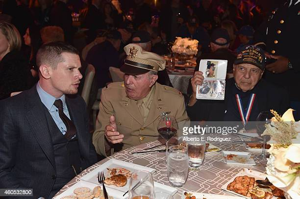 Actor Jack O'Connell veteran Mike LaVerne and veteran Barney Leone attend the after party for the premiere of Universal Studios' Unbroken at on...